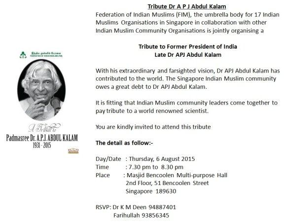 Tribute to Dr Abdul Kalam